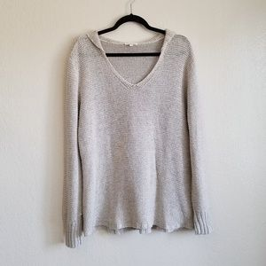Eileen Fisher Linen Knit Hooded Pullover Sweater
